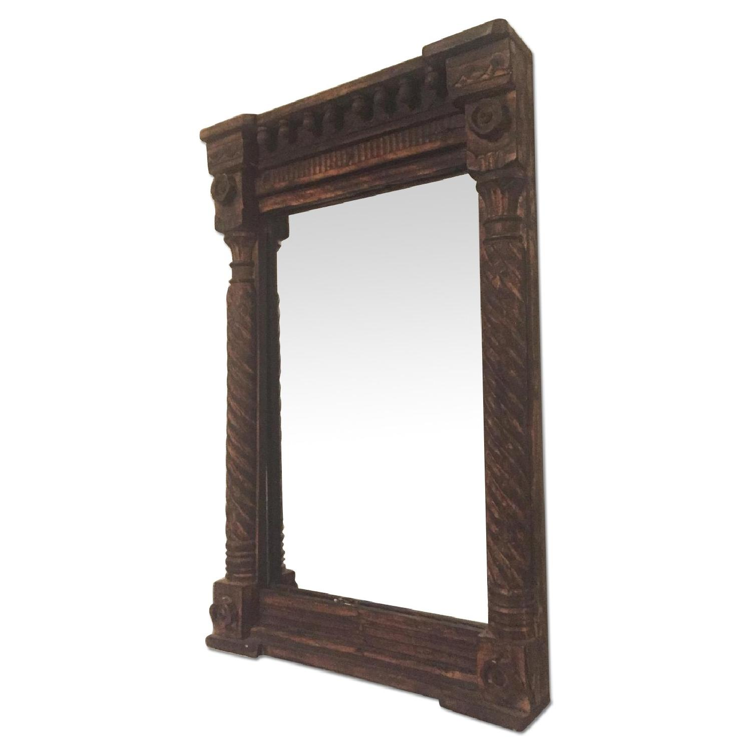 Hand Carved Indian Mirror - image-0