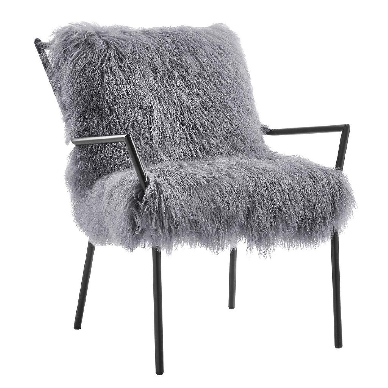 TOV Furniture Lena Grey Sheepskin Accent Chair - image-0
