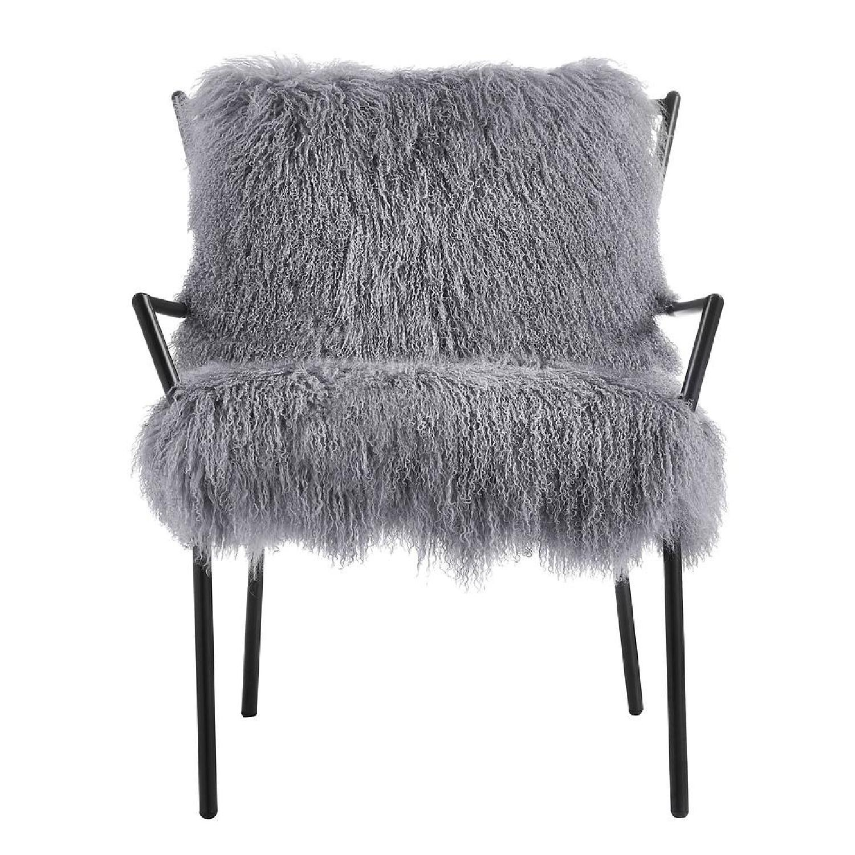 TOV Furniture Lena Grey Sheepskin Accent Chair - image-1