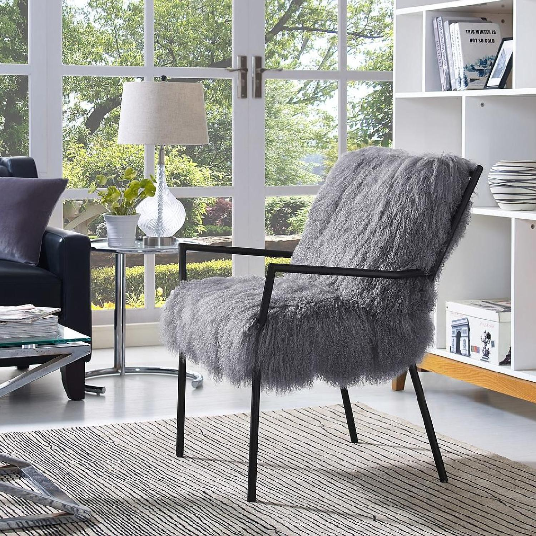 TOV Furniture Lena Grey Sheepskin Accent Chair - image-4