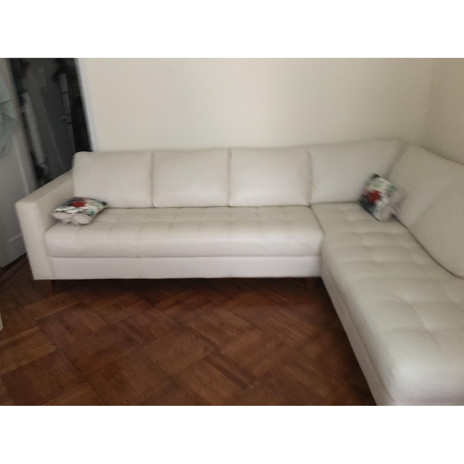 Macy's Italian Quilted Leather Sectional Sofa - image-2