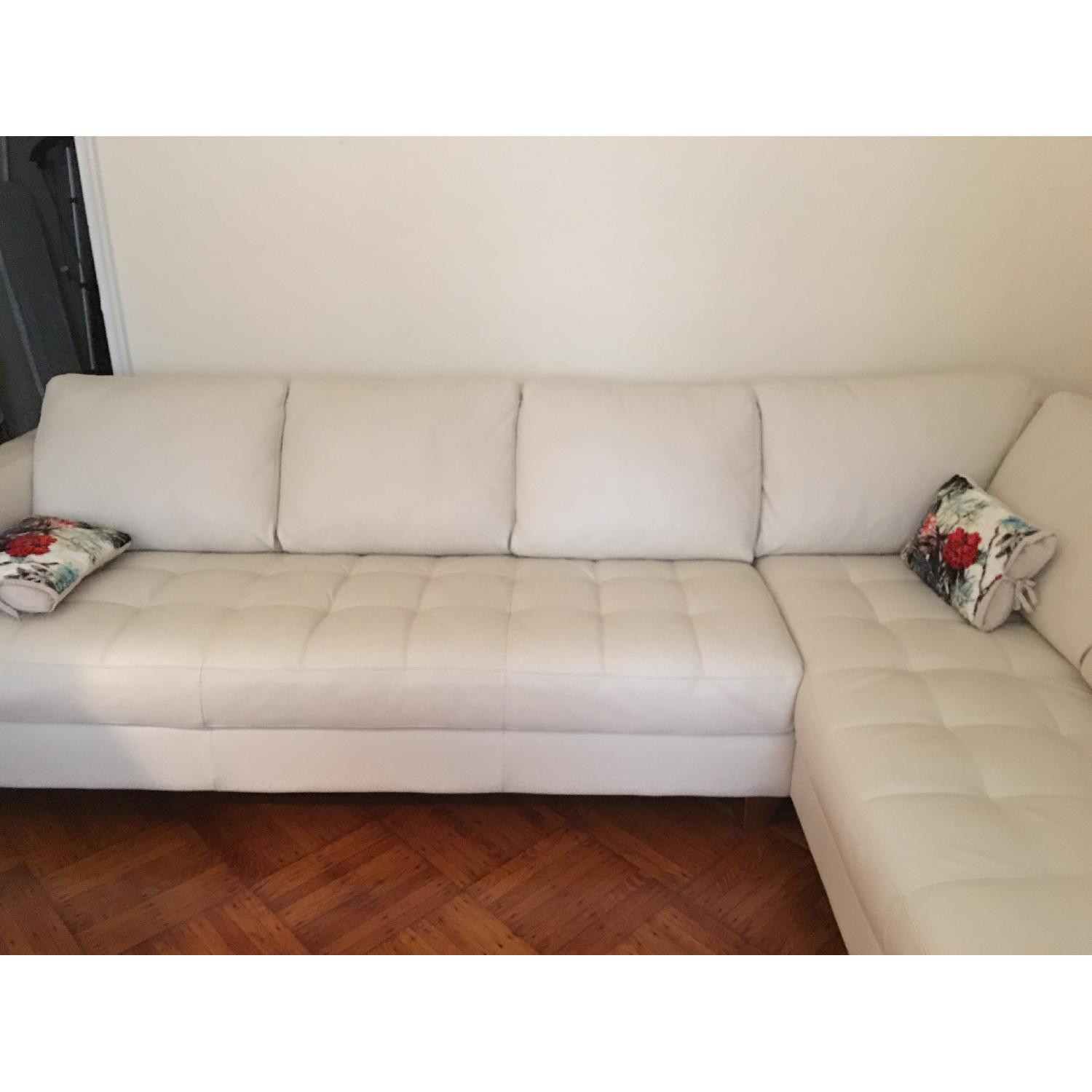 Macy's Italian Quilted Leather Sectional Sofa - image-4