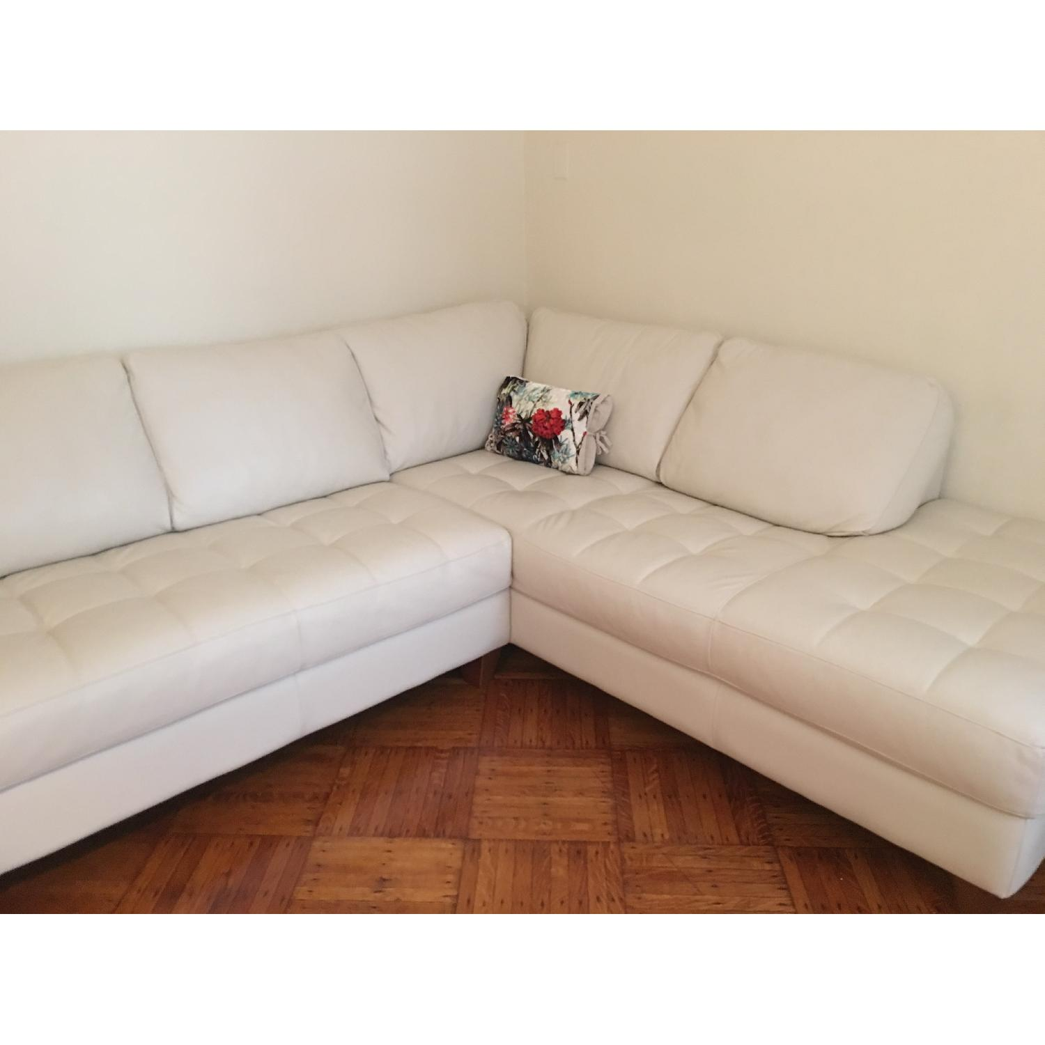 Macy's Italian Quilted Leather Sectional Sofa - image-6