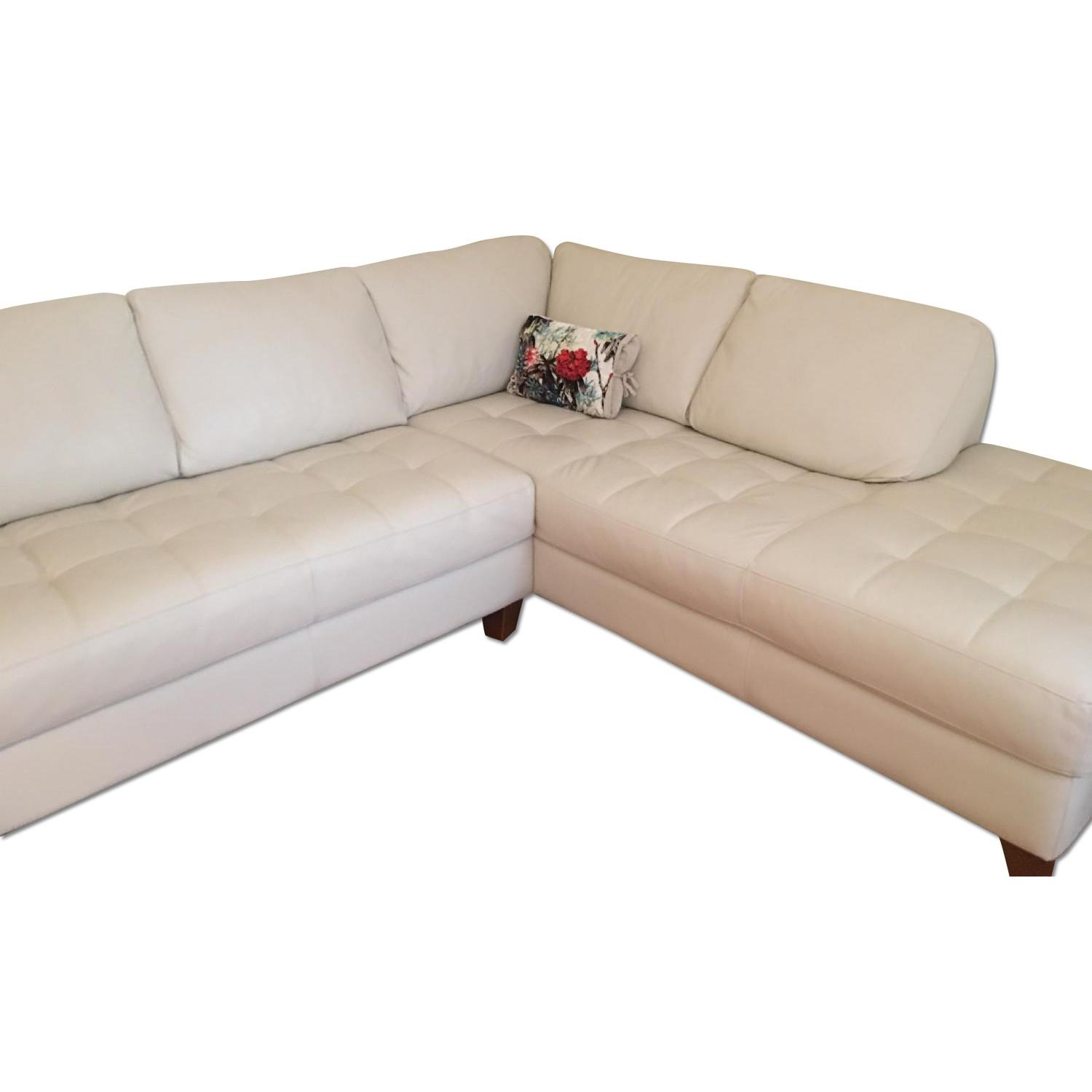 Macy's Italian Quilted Leather Sectional Sofa - image-0