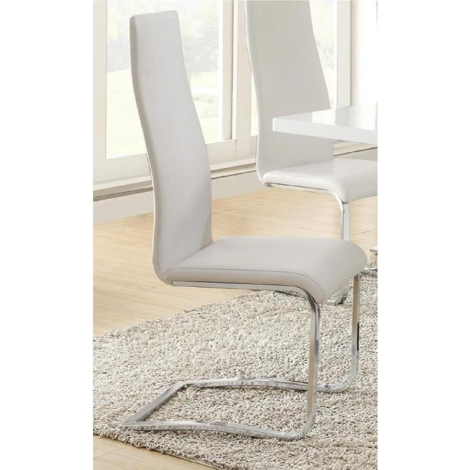 Modern White Dining Chairs w/ Solid Metal Legs - image-1
