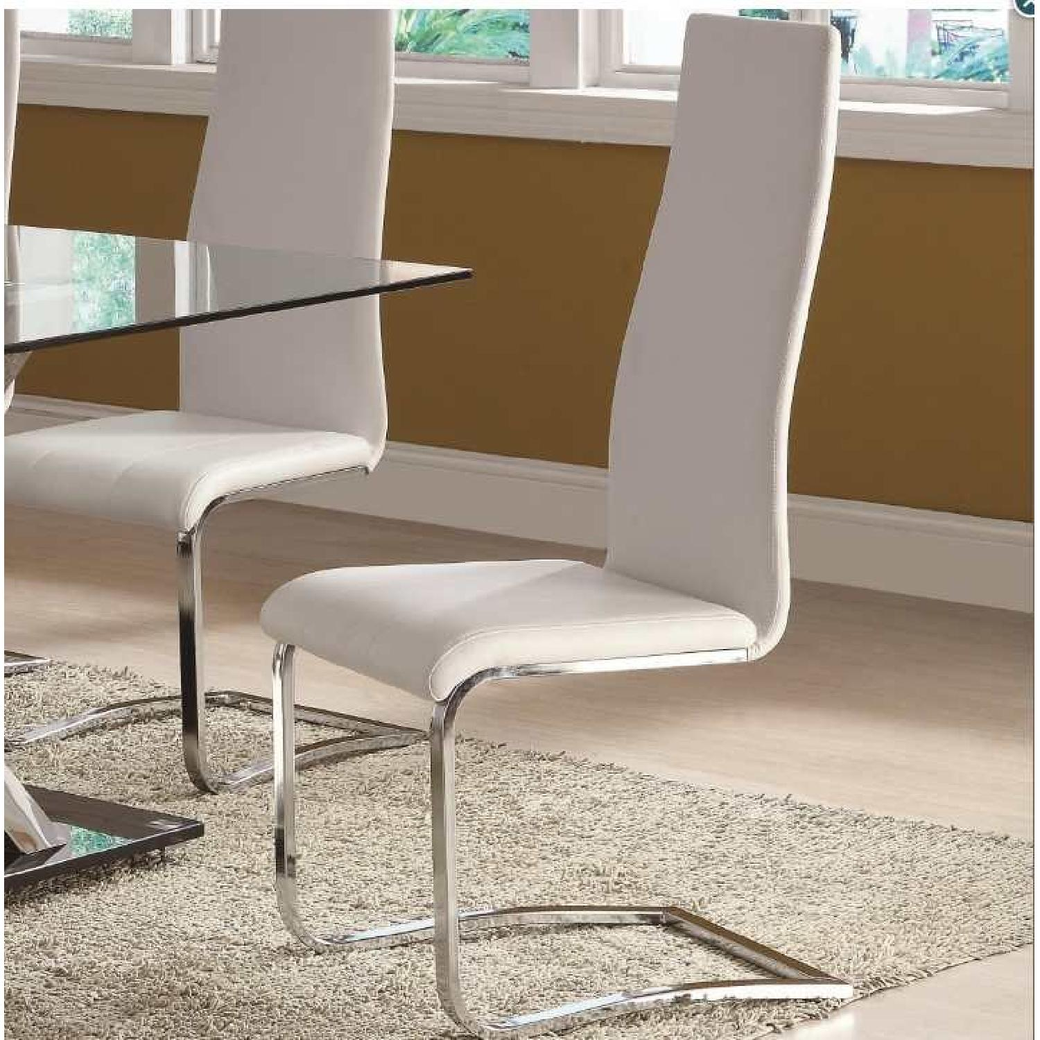 Modern White Dining Chairs w/ Solid Metal Legs - image-2