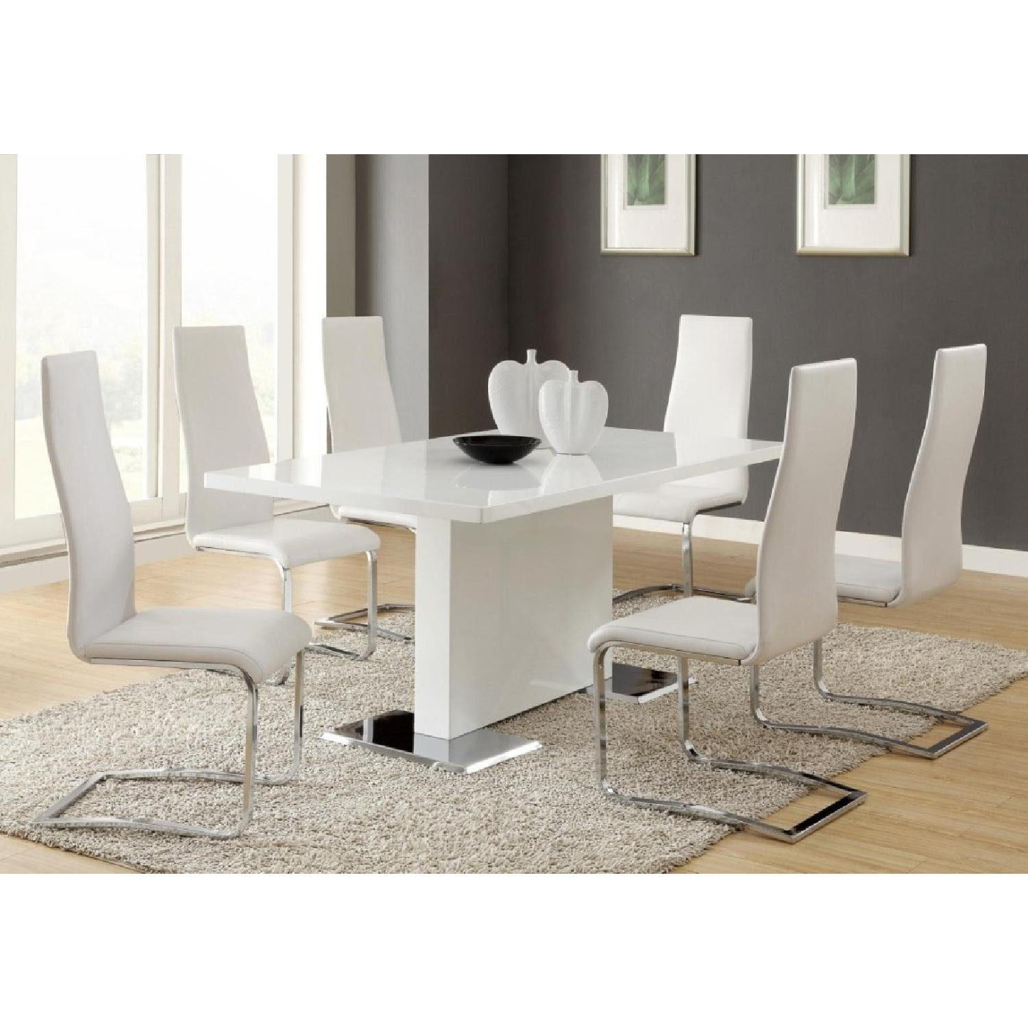 Modern White Dining Chairs w/ Solid Metal Legs - image-3
