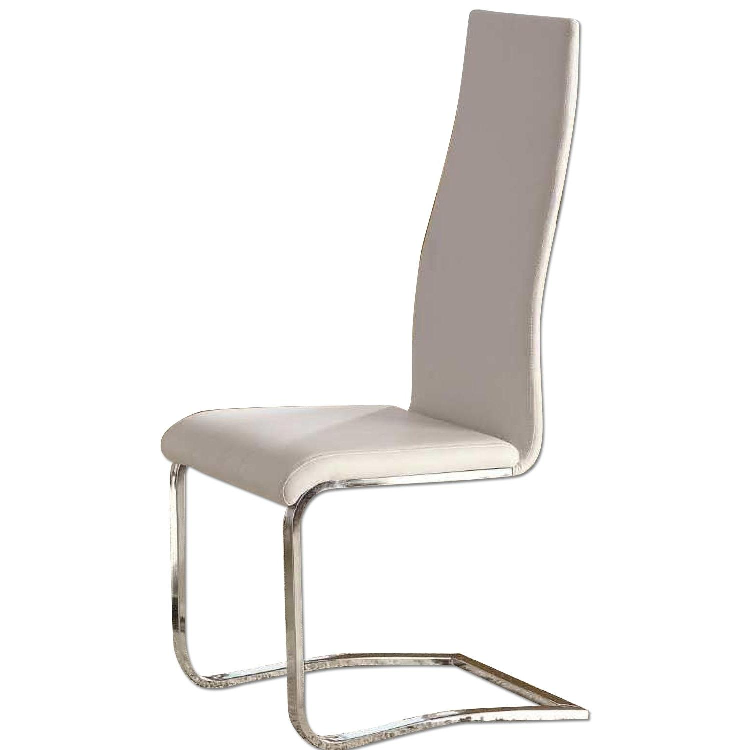 Modern White Dining Chairs w/ Solid Metal Legs - image-0