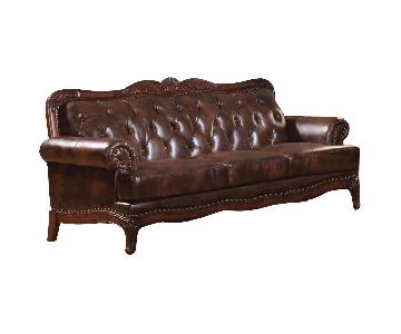 Premium Leather Tufted Back Sofa w/ Nail Head Accent & Wood Trims