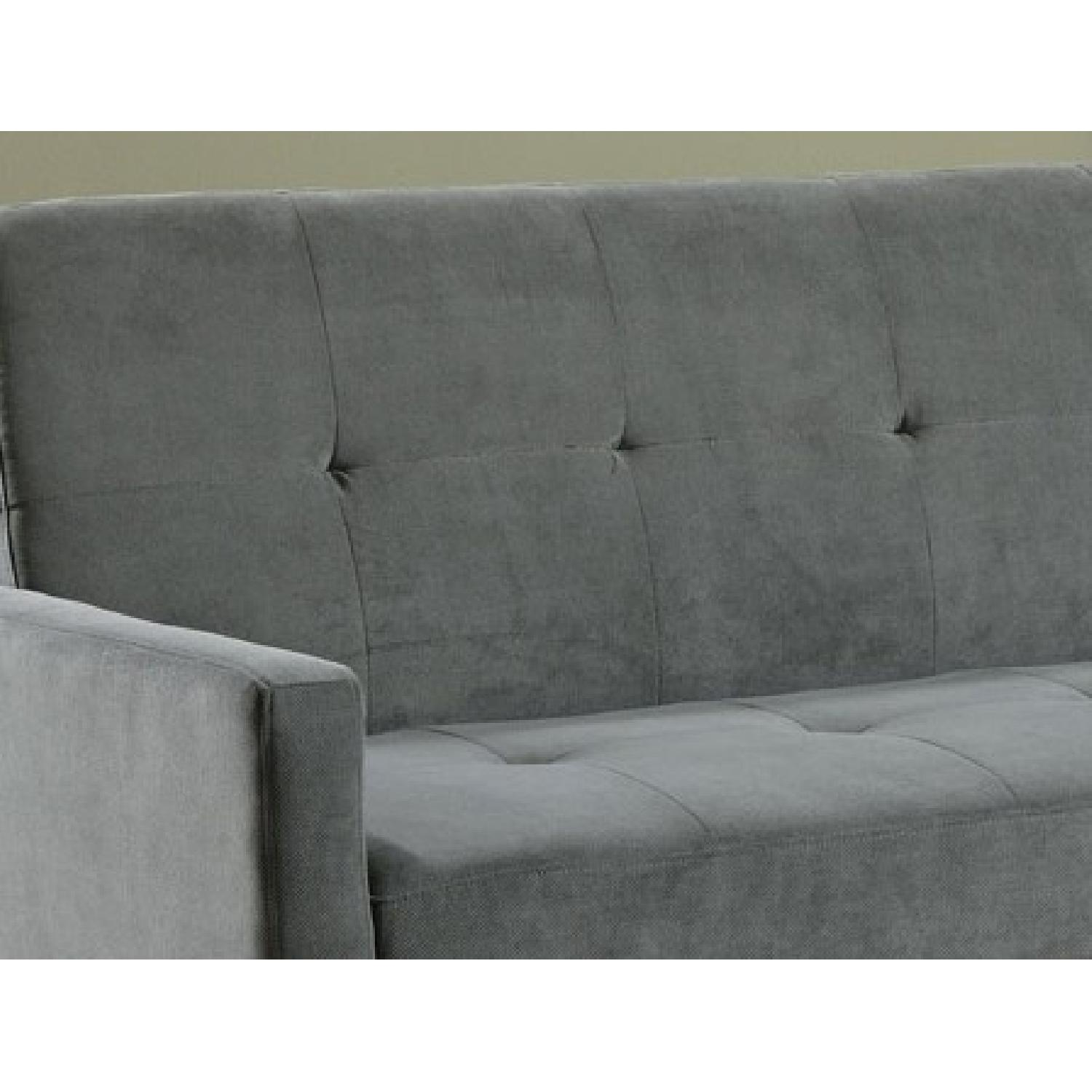 Convertible Sofa in Soft Blue-Gray Microfiber w/ Tufted Buttons - image-3