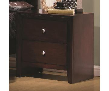 Nightstand in Merlot Finish w/ Brushed Nickel Finish Knobs