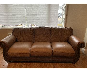 Macy's Matisse Chestnut Leather Sofa