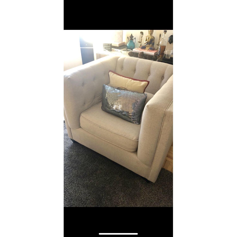 Beige Tufted Sofa + Armchair-0