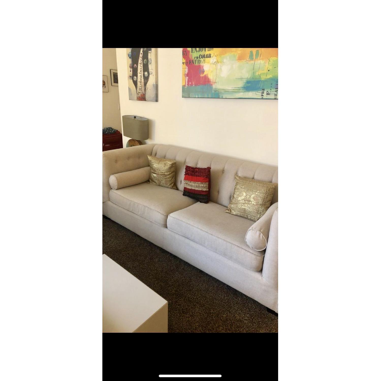 Beige Tufted Sofa + Armchair-1
