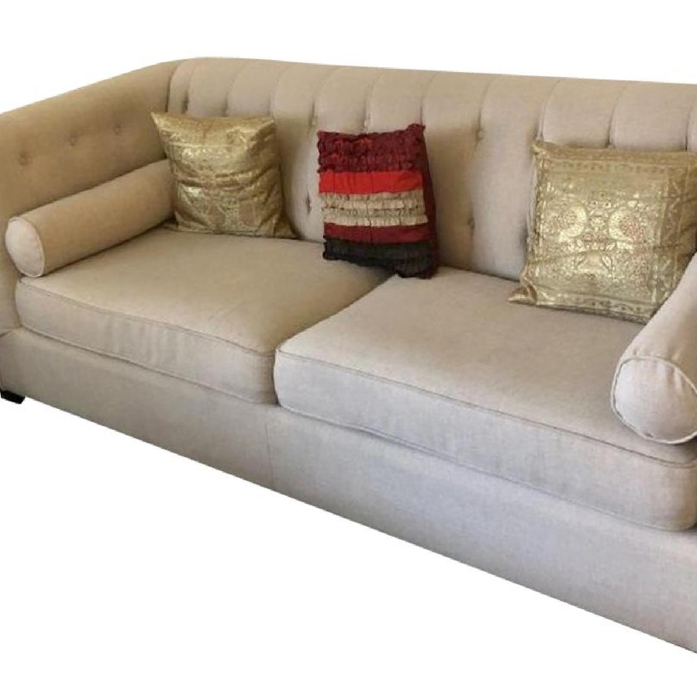 Beige Tufted Sofa + Armchair