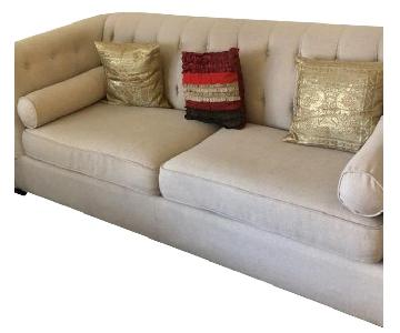 Beige Tufted Sofa + Armchair