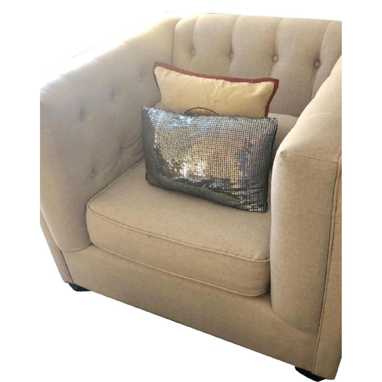Beige Tufted Sofa + Armchair-3