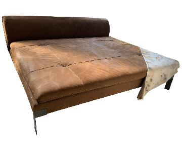 Baxter Suede-Like Leather Dormeuse Chaise