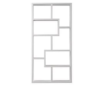 Joss & Main Chrysanthos Geometric Bookcase in White