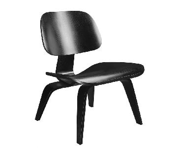 Eames Plywood LCW Lounge Chairs in Black