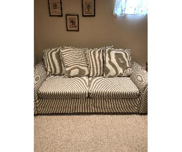 Striped Pattern Upholstered Queen Sleeper Sofa