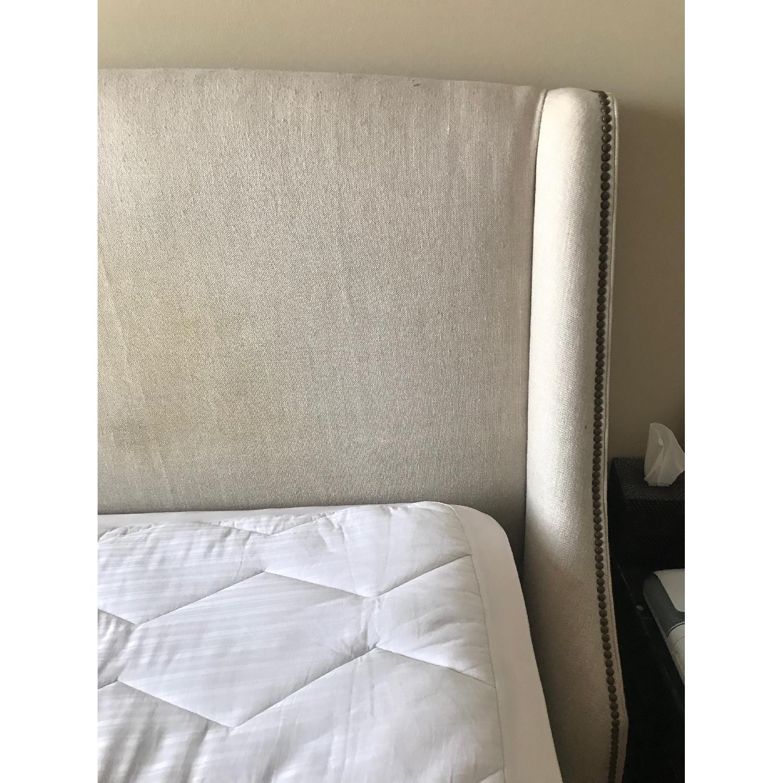 Restoration Hardware Belgian Linen Warner Bed w/ Nailheads-4