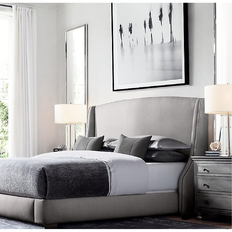 Restoration Hardware Belgian Linen Warner Bed w/ Nailheads-6