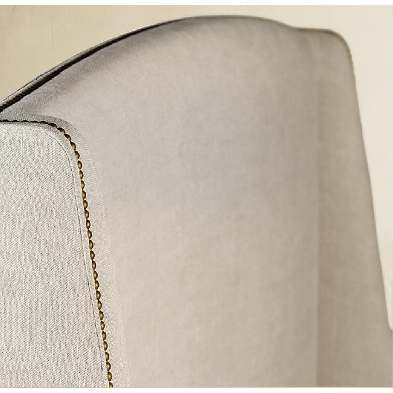 Restoration Hardware Belgian Linen Warner Bed w/ Nailheads-7