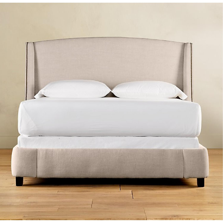 Restoration Hardware Belgian Linen Warner Bed w/ Nailheads-8