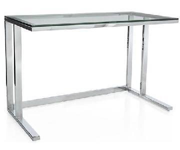 Crate & Barrel Modern Tempered Glass Graphite Desk