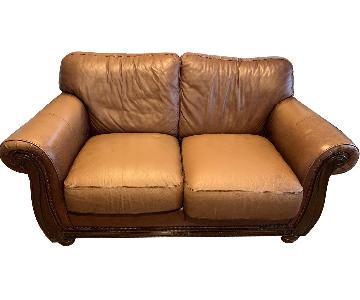 Macy's Chestnut Leather Loveseat