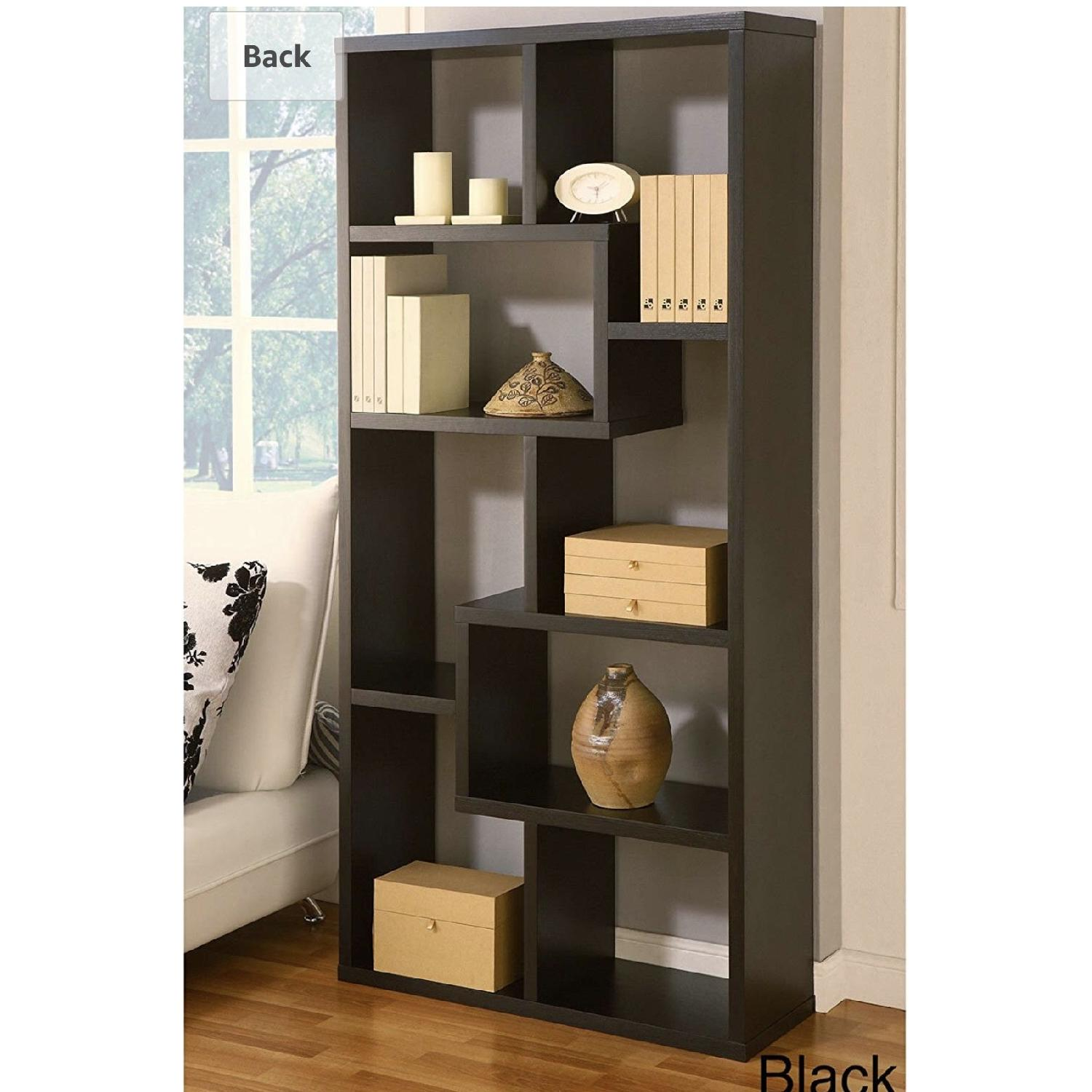 Joss & Main Chrysanthos Black Geometric Bookcase-4