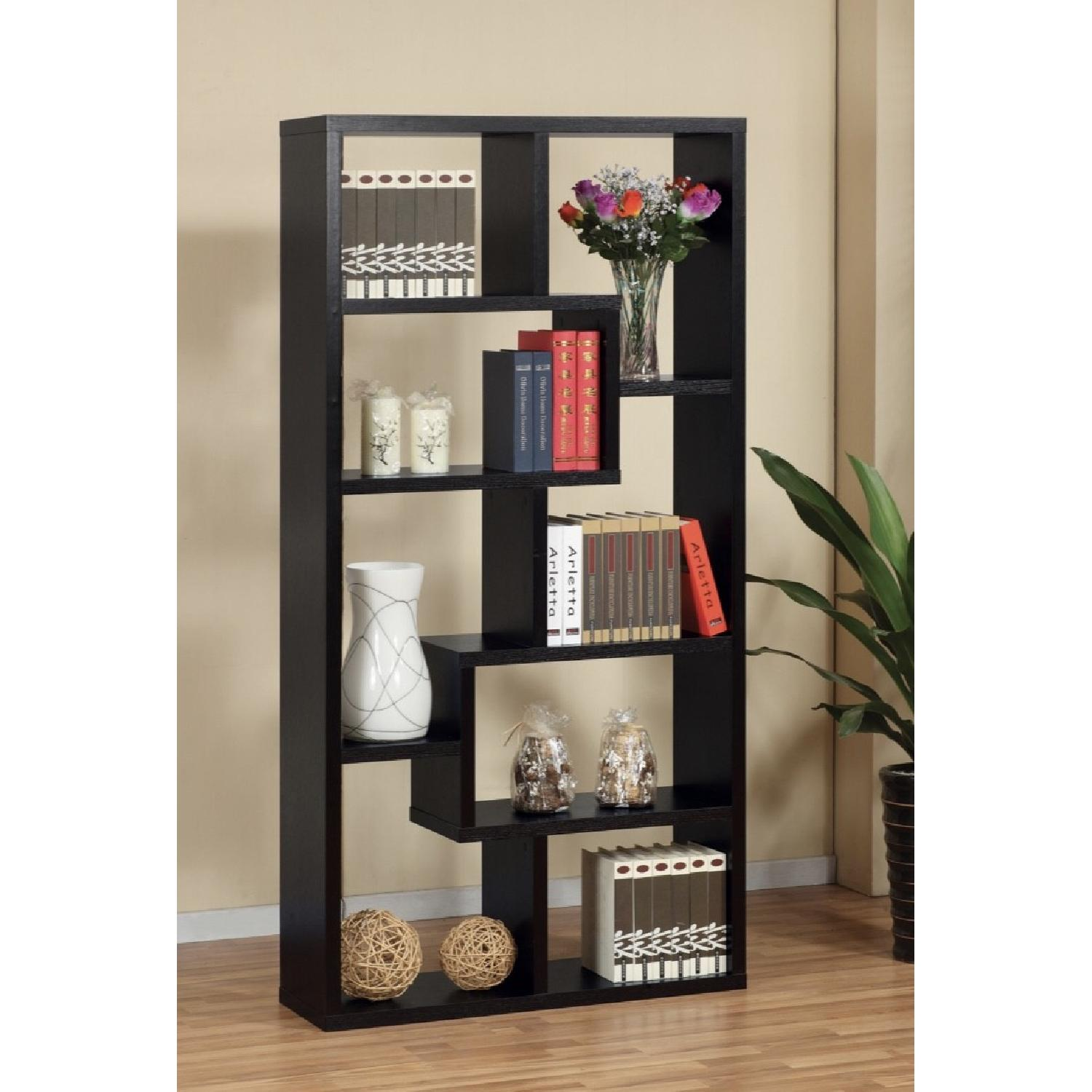Joss & Main Chrysanthos Black Geometric Bookcase-5