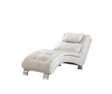 White Leatherette Chaise Lounge