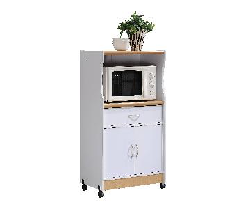 Hodedah Microwave Kitchen Cart in White