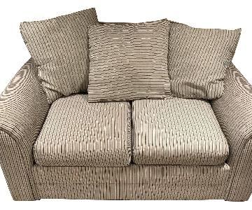 Striped Pattern Upholstered Loveseat