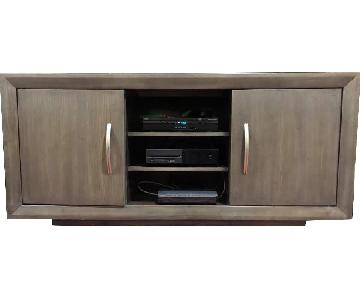 Solid Wood Gray TV Console