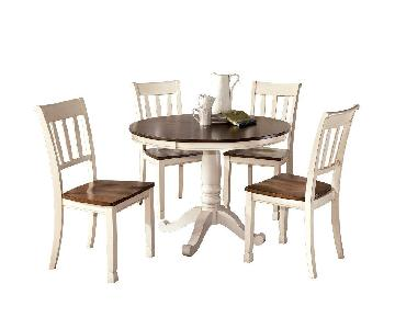 Ashley White & Brown Wood Round Dining Table w/4 Side Chairs