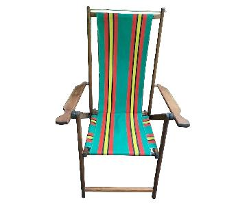 Vintage Striped Canvas Deck Chair
