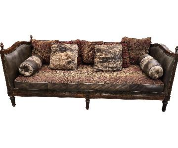 Custom Fabric & Leather Upholstered Sofa