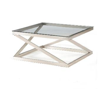 Raymour & Flanigan Glass Coffee Table + 2 End Tables