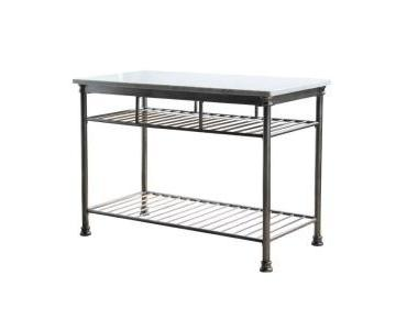 Home Styles Gray Marble Top Kitchen Island/Utility Table