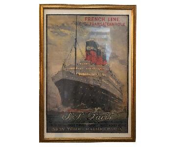 S.S. Paris Large Boat Print w/ Frame