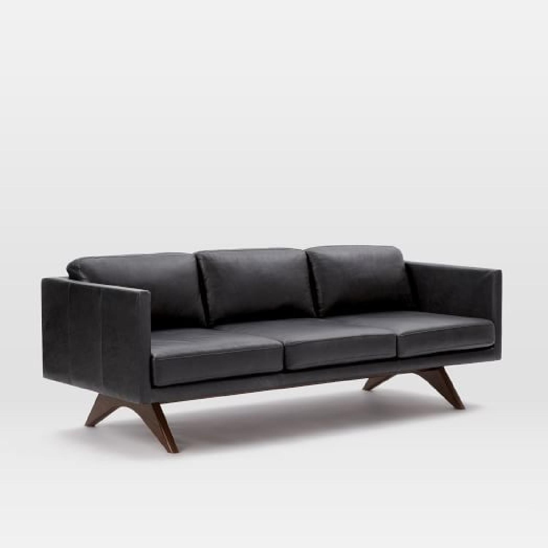 West Elm Brooklyn Sofa in Black Licorice Leather-0