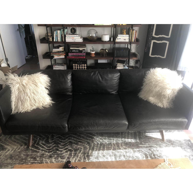 West Elm Brooklyn Sofa in Black Licorice Leather-1
