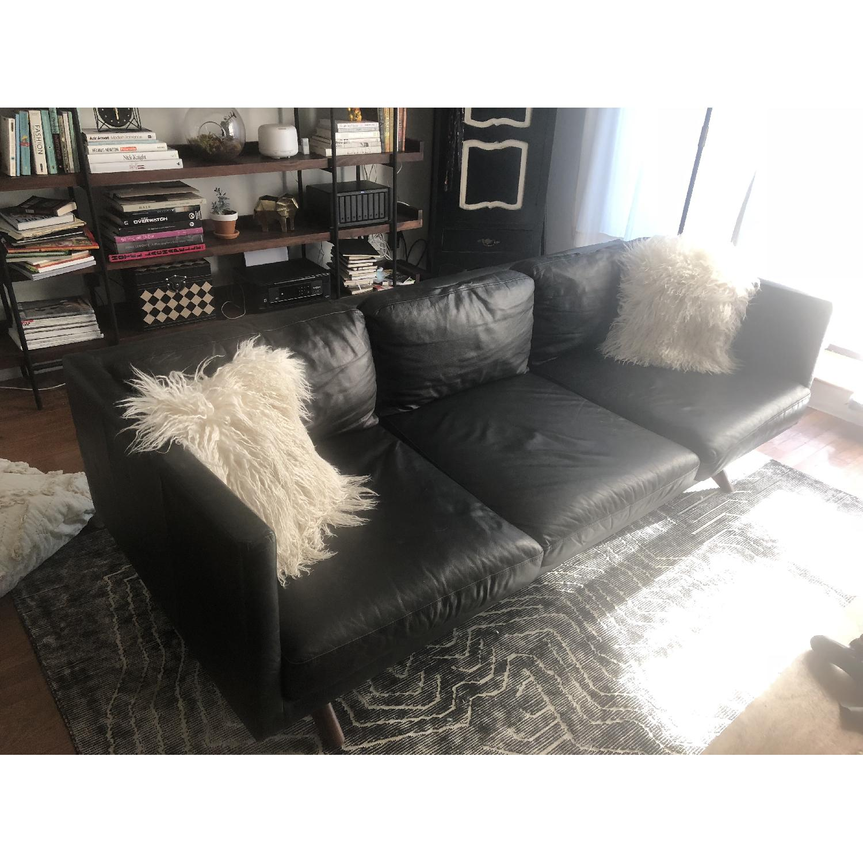 West Elm Brooklyn Sofa in Black Licorice Leather-3