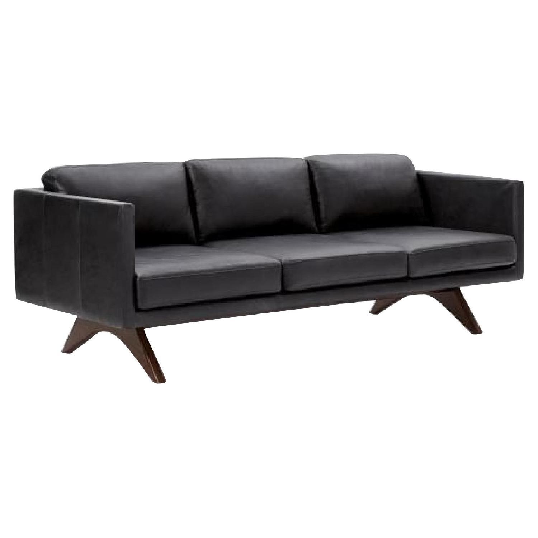 West Elm Brooklyn Sofa in Black Licorice Leather