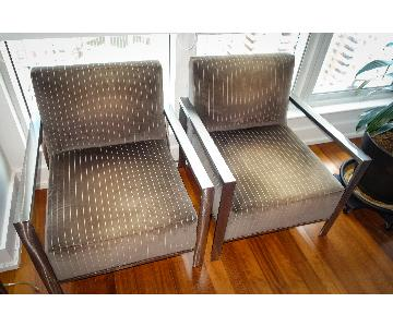 Room & Board Mid-Century Pinstripe Metal Arm Chairs
