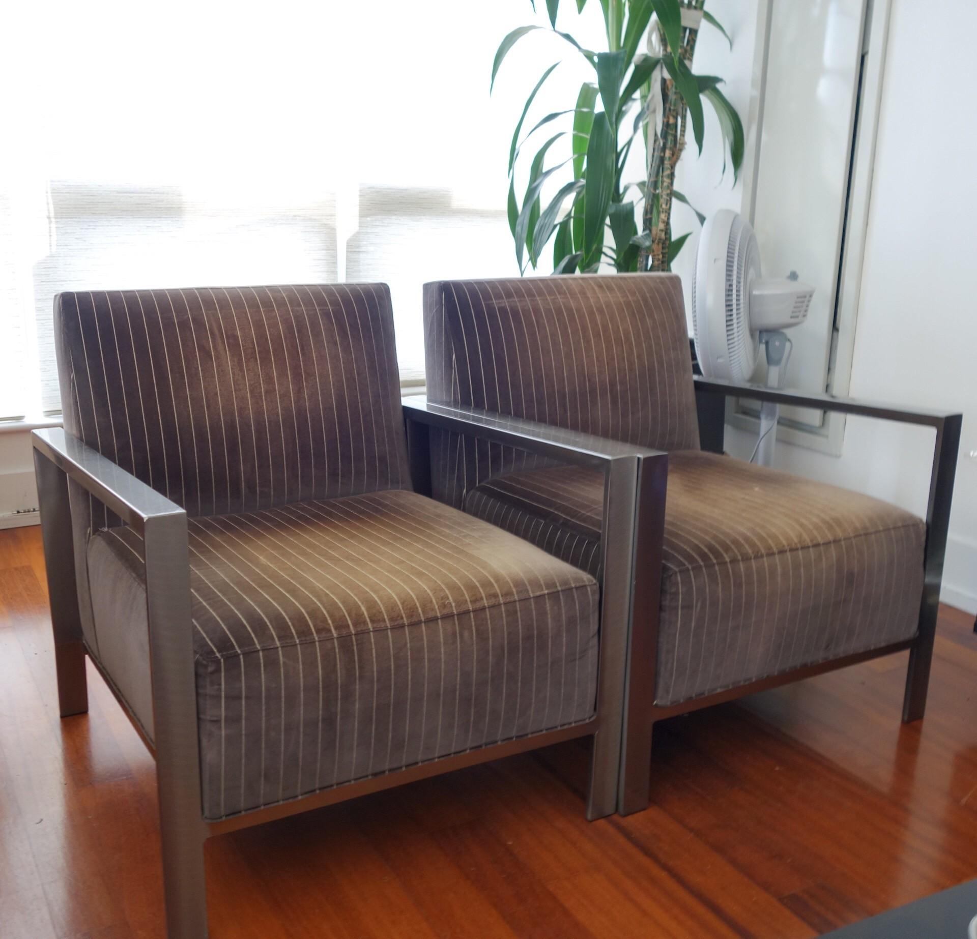 Room & Board Mid-Century Pinstripe Metal Arm Chairs