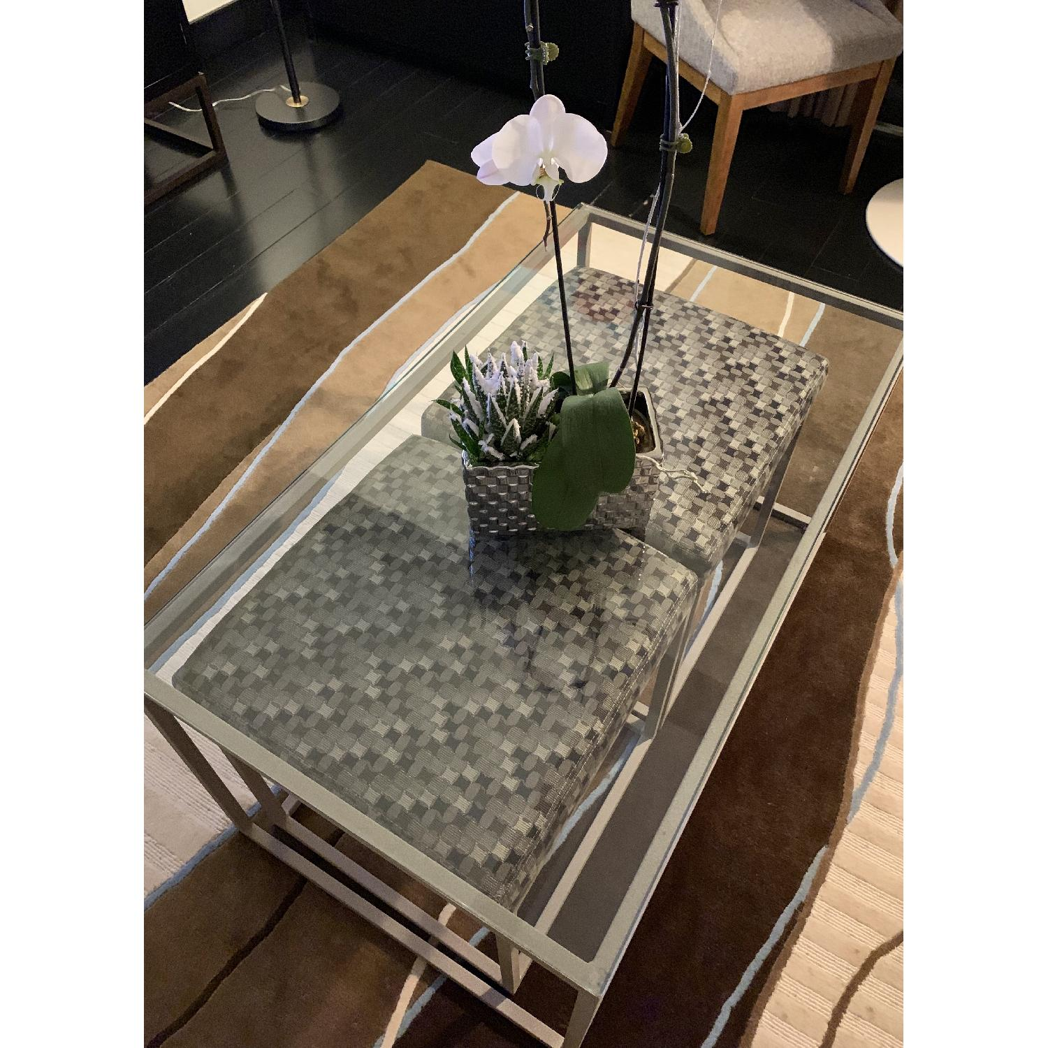Italian Glass Coffee Table w/ 2 Pull-Out Stools